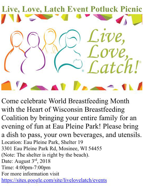 """August 3rd, 2018 at 4 PM at EAU Pleine Park, Shelter 19, Eau Pleine Park Rd, Mosinee, WI (Note: The shelter is right by the beach). """"Come celebrate World Breastfeeding Week with the Heart of Wisconsin Breastfeeding Coalition by bringing your entire family for an evening of fun at Eau Pleine Park! Please bring a dish to pass, your own beverages, and utensils."""