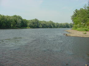 Wisconsin River dividing the forest unit.